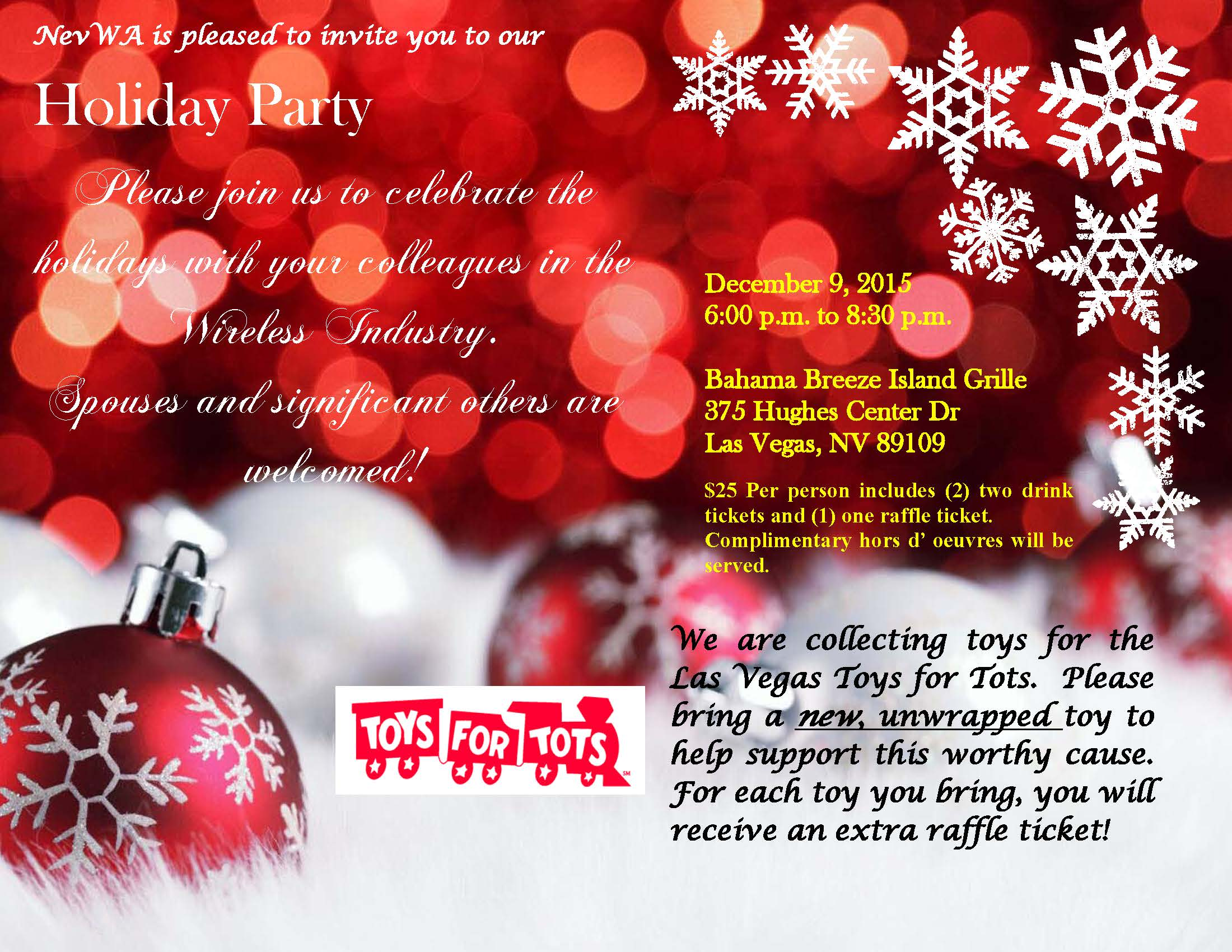 nevwa holiday partynevwa org support toys for tots by bringing a new unwrapped toy and receive an extra raffle ticket for each toy
